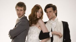 Rory Williams (Arthur Darvill), Amy Pond (Karen Gillan) and the Eleventh Doctor (Matt Smith) - Doctor Who Wedding Day (c) BBC