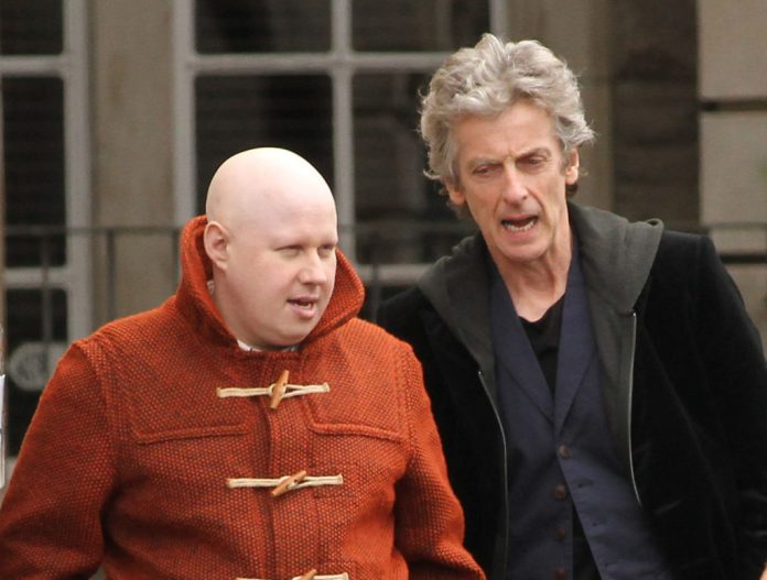 Matt Lucus and Peter Capaldi chat during a break in filming scenes for Doctor Who series 10 together