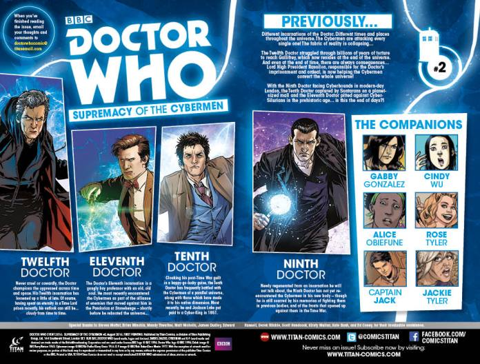 TITAN COMICS - DOCTOR WHO: SUPREMACY OF THE CYBERMEN #2 CONTENTS