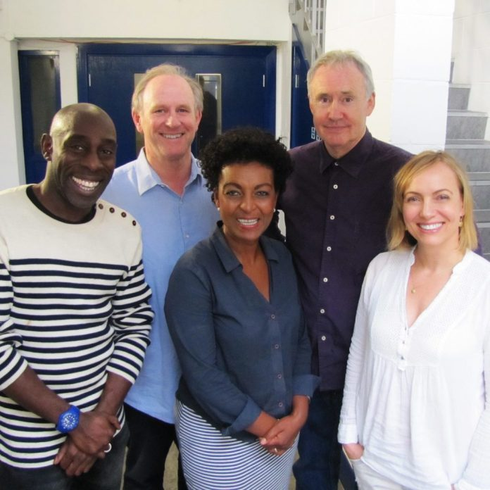 Big Finish - Doctor Who - Classic Doctors, New Racnoss - L-R: Andrew French, Peter Davison, Adjoa Andoh, Nigel Planer and Lisa Kay