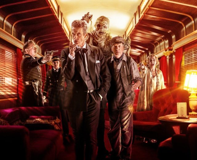 Doctor Who - Series 8 - Episode 8 - Mummy on the Orient Express - David Bamber as Captain Quell, Christopher Dane as McKean, Peter Capaldi as The Doctor, Frank Skinner as Perkins and Daisy Beaumont as Maisie