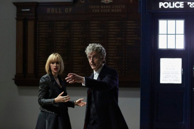 Class - Ep1 (L-R) Miss Quill (KATHERINE KELLY), The Doctor (PETER CAPALDI) - (C) BBC - Photographer: Simon Ridgeway