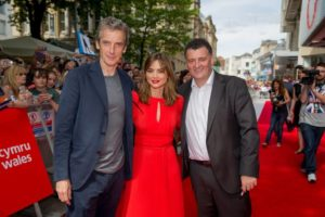 The Doctor (PETER CAPALDI), Clara (JENNA COLEMAN), Steven Moffat - Cardiff - Doctor Who World Tour - 7 August 2014 - (C) BBC - Photographer: Guy Levy