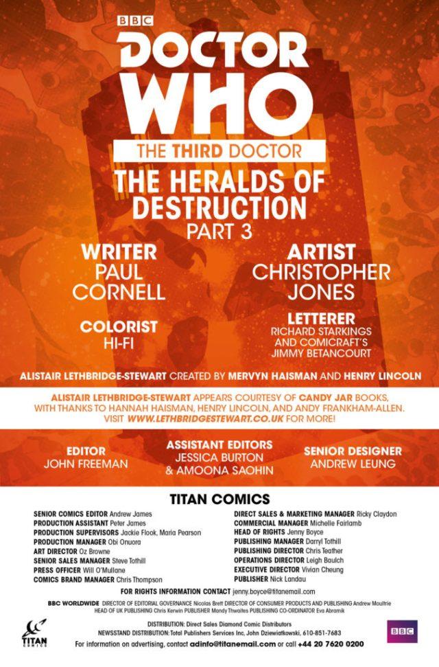 TITAN COMICS - THIRD DOCTOR #3 CREDITS