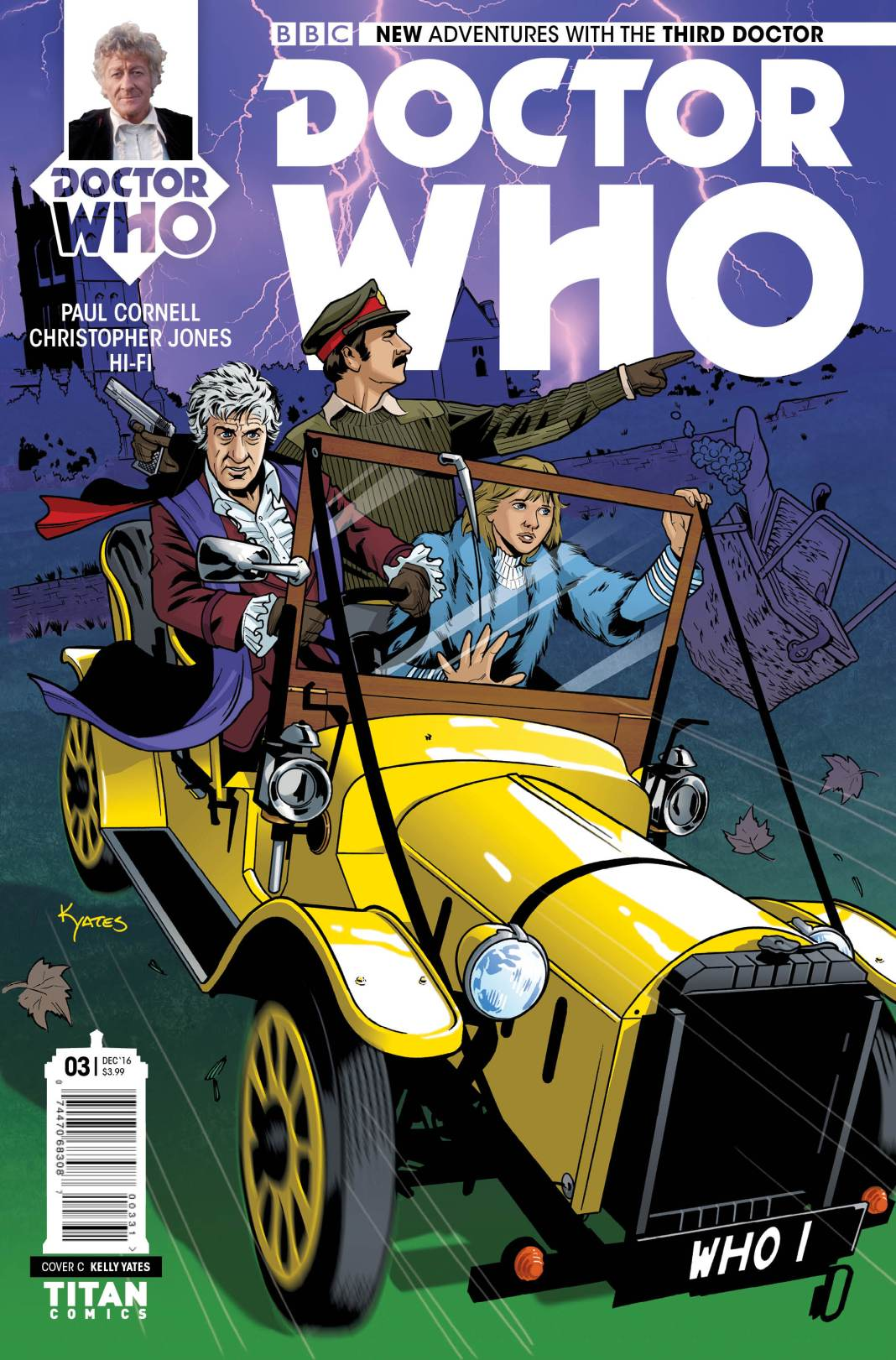 TITAN COMICS - THIRD DOCTOR #3 COVER C BY KELLY YATES