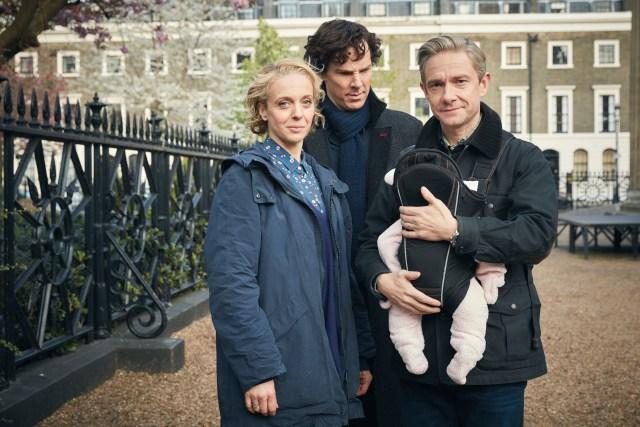 Sherlock S4 - Ep1 (No. 1) - Picture Shows: Mary Watson (AMANDA ABBINGTON), Sherlock Holmes (BENEDICT CUMBERBATCH), Dr John Watson (MARTIN FREEMAN) - (C) Hartswood Films - Photographer: Robert Viglasky