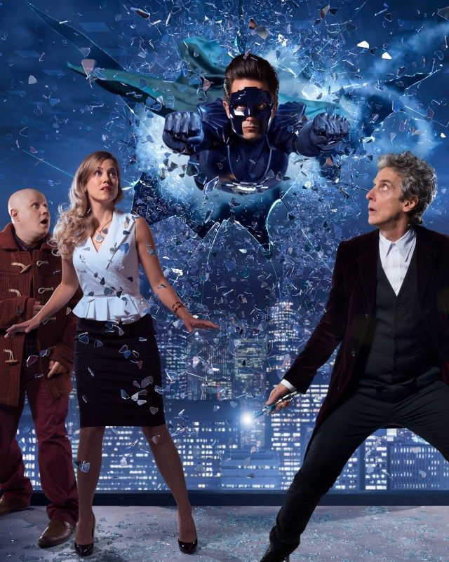 Doctor Who Christmas Special 2016 - TX: n/a - Episode: The Return of Doctor Mysterio (No. n/a) - Picture Shows: ***EMBARGOED UNTIL 1st Dec 2016*** Nardole (MATT LUCAS), Lucy Fletcher (CHARITY WAKEFIELD), The Ghost (JUSTIN CHATWIN), The Doctor (PETER CAPALDI) - (C) BBC - Photographer: Ray Burmiston