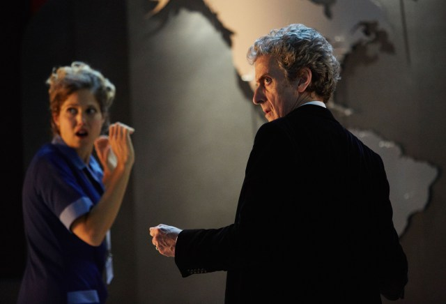 Doctor Who Xmas Special 2016 - Charity Wakefield as Lucy and Peter Capaldi as The Doctor - BBC - Photo: Simon Ridgeway
