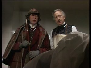 Tom Baker and Trevor Baxter (Doctor Who: The Talons of Weng-Chiang)