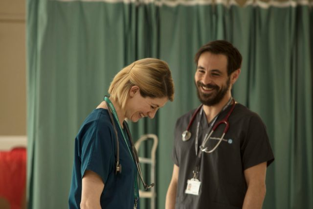 Trust Me - Ep2 (No. 2) - Picture Shows: Ally (JODIE WHITTAKER), Dr Andy Brenner (EMUN ELLIOTT) - (C) Red Productions - Photographer: Mark Mainz