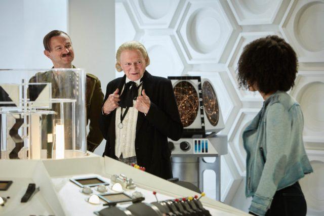 The Captain (MARK GATISS), The First Doctor (DAVID BRADLEY), Bill (PEARL MACKIE) - (C) BBC/BBC Worldwide - Photographer: Simon Ridgway