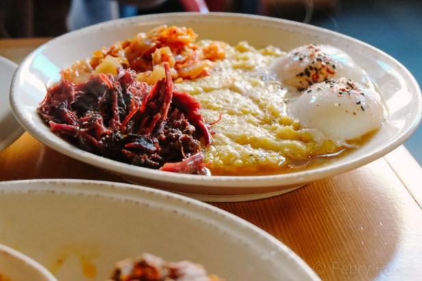 Grits, eggs, kimchi
