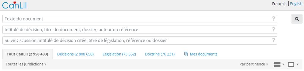 Capture d'écran des champs de recherche CanLII et des onglets de filtrage principaux.