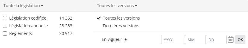 Capture d'écran des onglets de sous-filtre étendus «type de législation» et «version de la législation».