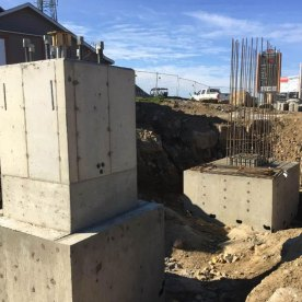 Removal of the rear footing formwork.