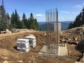 Backfilling of the front foundation and rear footing at the top of the lift.