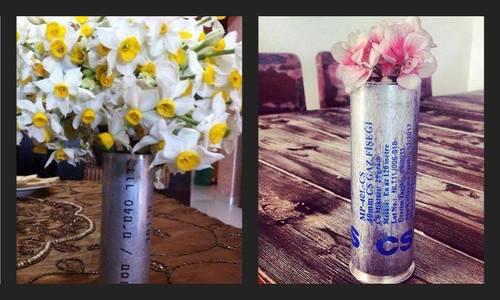 Floreros en botes de gas