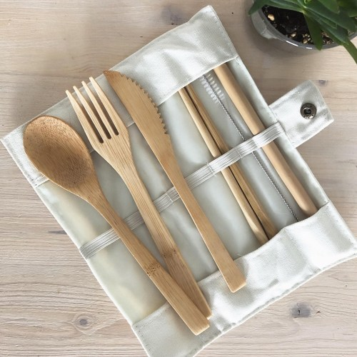 Duo boîte à lunch et ustensiles en bambou