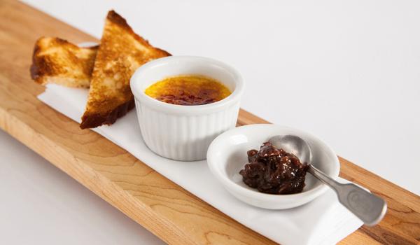 Crème brûlée au foie gras menu gastronomique