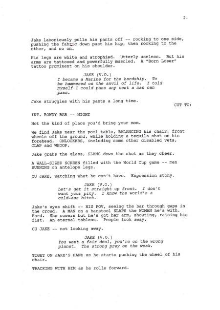 """Una página del guión """"Avatar"""" de James Cameron"""