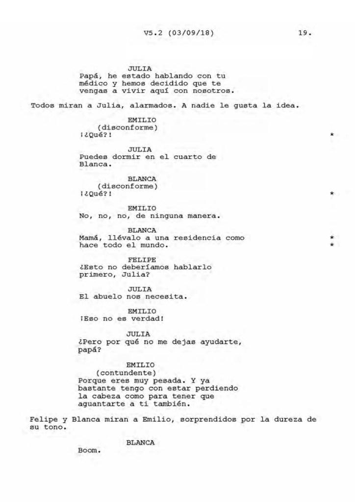 Una página del guión de Vivir dos veces, escrito por María Mínguez