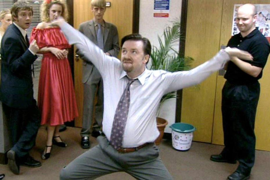 El guionista y actor Ricky Gervais en The Office