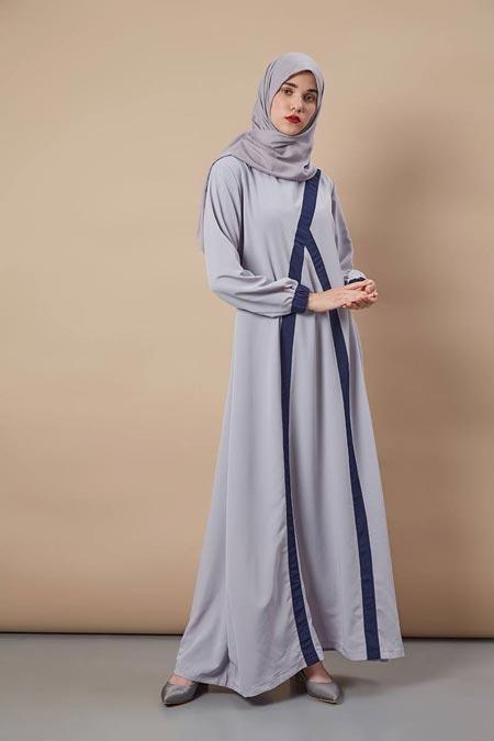 Ambar Dress Grey - Model Baju Gamis Terbaru dan Terpopuler