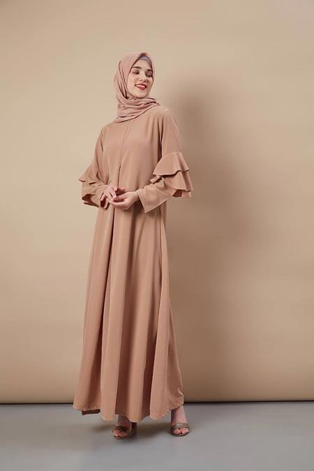 Aelie Dress Brown - Model Baju Gamis Terbaru dan Terpopuler