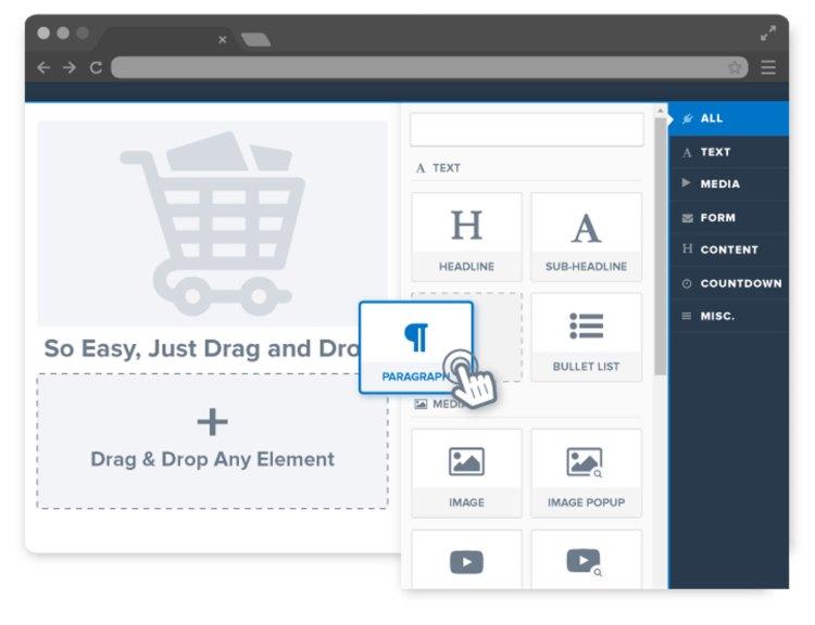 ClickFunnels Drag-and-Drop Visual Editor