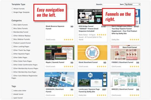 Catalog of Clickfunnels templates