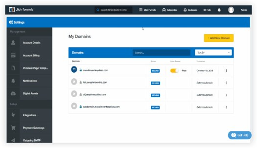 Clickfunnels dashboard for adding new domains to the system.