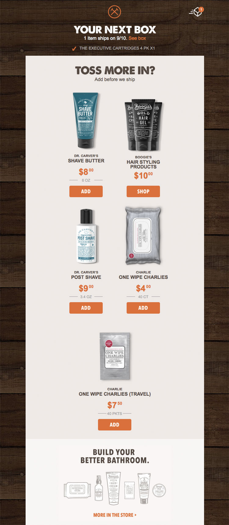 cross selling example from dollar shave club