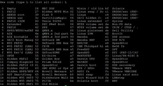 Linux LVM fdisk L