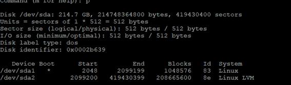 Linux LVM fdisk p