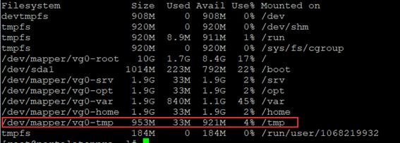 lvextend -L +5G /dev/mapper/vg0-tmp