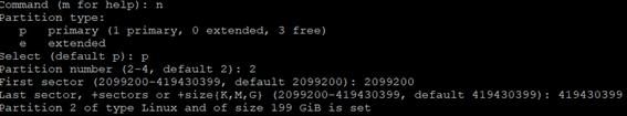 Linux LVM fdisk n