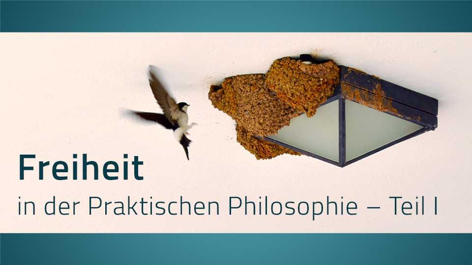 Vogel fliegt in sein Nest, dazu der Schriftzug: Freiheit in der Praktischen Philosophie – Teil I