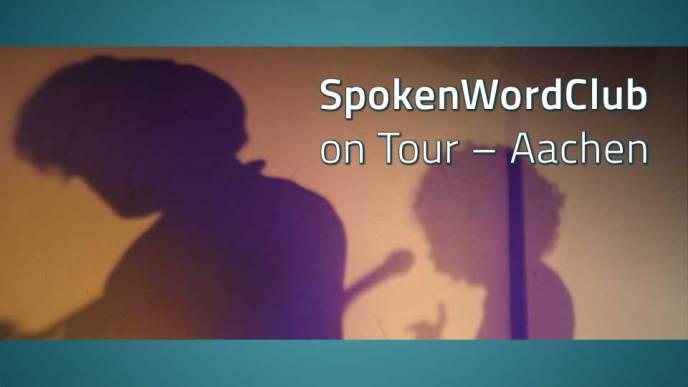 Die Schatten der Band Lucie Licht, dazu der Text: SpokenWordClub on Tour – Aachen
