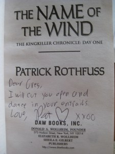 Signed title page of The Name of the Wind by Patrick Rothfuss