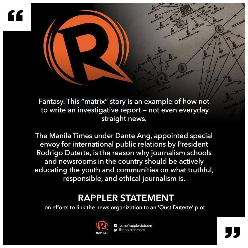 rappler statement oust duterte