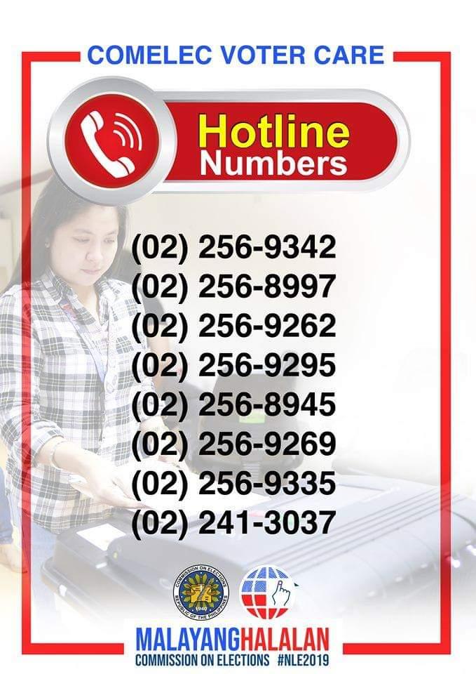 comelec hotline numbers