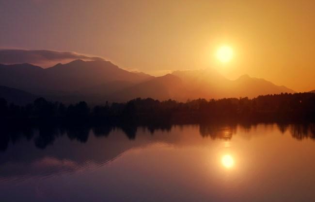Sunset on lake edge