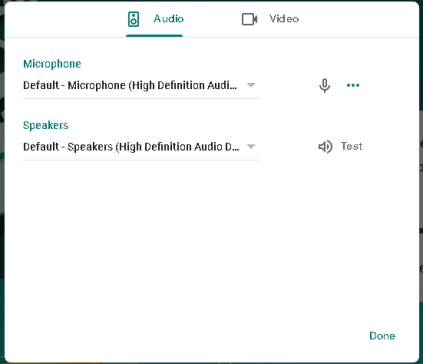 Audio Video settings in google meet
