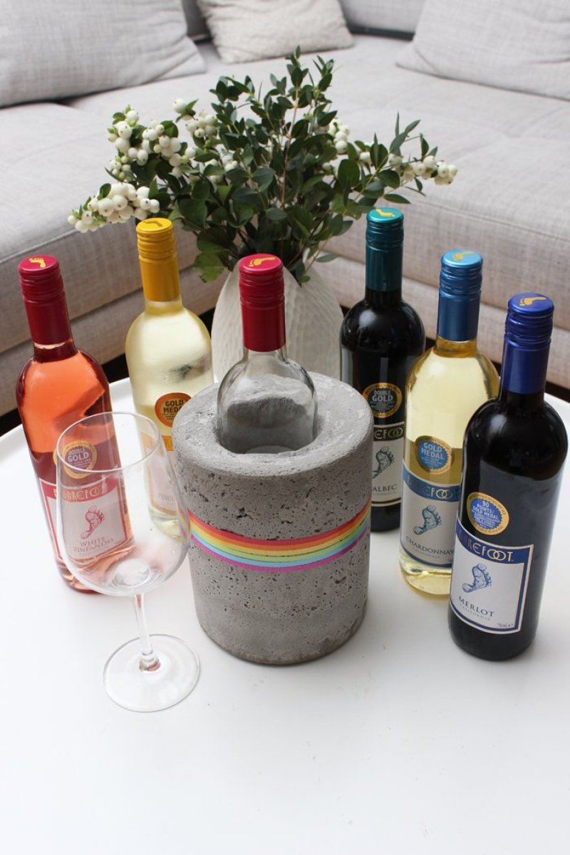 "DIY- Beton Weinkühler – ""Dress the Rainbow"" mit Barefoot Wine"