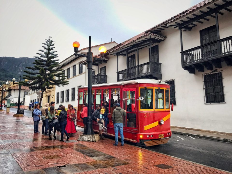 Touristic red tram in La Candelaria