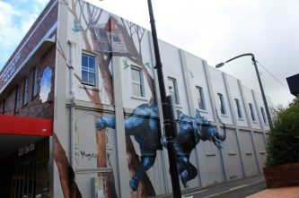 Street art by Fintan Magee on the corner of Ruthven and Union Sts, Toowoomba.