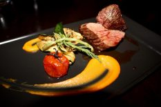 Seared Kangaroo Fillet, roasted pumpkin puree, charred zucchini, samphire and a balsamic jus.