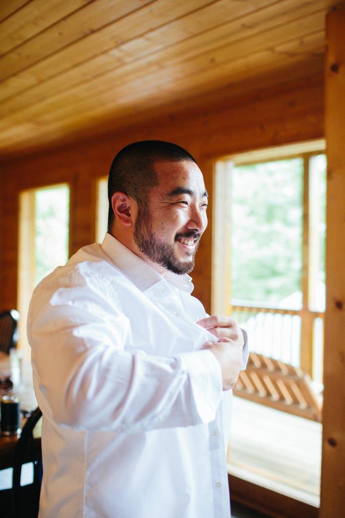 Tristan getting ready on wedding day
