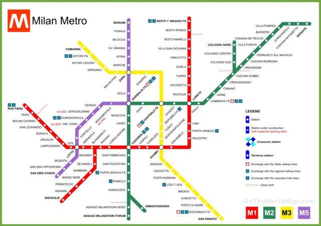 Milan Subway Map.Milan Metro Map Blonde Around The World