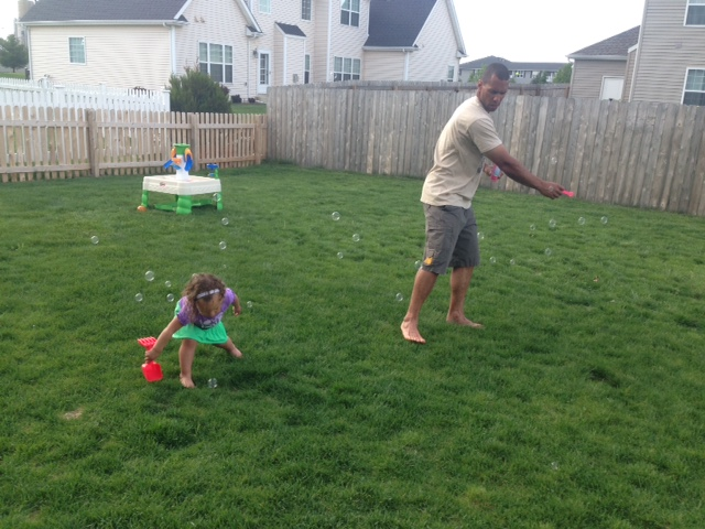 Bubbles with daddy'